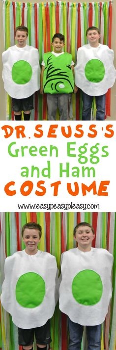 Easy DIY Tutorial to make Dr. Seuss's Green Eggs and Ham Costume for Read Across America Week and Halloween!