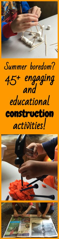 Are your young children suffering from summer boredom?  Try this!  45+ engaging and educational construction themed activities for your preschooler or kindergarten.  Discover construction workers, construction vehicles, construction tools, buildings and demolition.