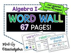 Algebra 1 & Middle School Math Word Wall Posters - Set of 67! by iteachalgebra