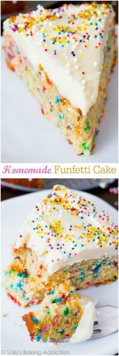 Easy homemade funfetti cake recipe made completely from scratch. Just Desserts, Delicious Desserts, Dessert Recipes, Yummy Food, Easy Cake Recipes, Cupcakes, Cupcake Cakes, Funfetti Kuchen, Yummy Treats