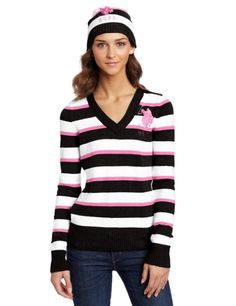 Happy Birthday to my daughter!   NEW US POLO ASSN WOMEN'S PREMIUM CLASSIC STRIPED SWEATER PLUS HAT BEANIE SIZE M #VNeck
