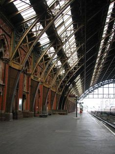 """""""The arch of the glass-and-iron train shed spans 240 feet and is over 100 feet high at its apex. This superb construction was an outstanding feat of Victorian engineering"""