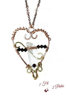 Pendentif Coeur Wire Wrapping Cristal de Roche Cuivre Laiton Naturel : Pendentif par 1-fil-2-perles