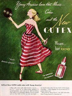 """Young America Loves Hot Music..."" ~  Cutex Nail Polish ad, March 1947"