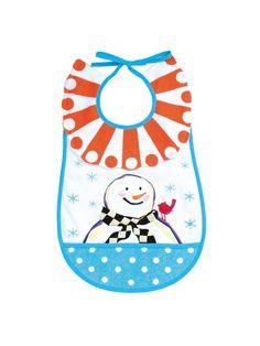 MacKenzie-Childs Snowman Baby Bib 17 inches Long 100% Cotton. $16
