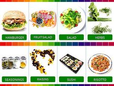 dowloadable printable learning materials in English Risotto, Sushi, Herbs, Printables, Salad, English, Print Templates, Herb, Salads