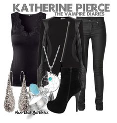 """""""Katherine Pierce"""" by wearwhatyouwatch ❤ liked on Polyvore featuring H&M, Raxevsky, 2nd Day, Giani, ALDO, Alexis Bittar, lace, ankle boots, long pendant necklaces and teardrop earrings"""