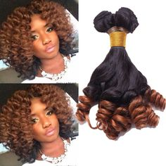 1B/30# 2Tone Ombre High Quality Funmi Curly Wave Human Hair Extension Remy Wefts #WIGISS #HairExtension
