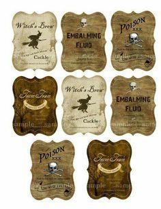 Halloween Drink Labels for Bottles - Digital Collage Sheet - - DIY Printable. Halloween Bottle Labels, Halloween Apothecary, Halloween Potions, Halloween Drinks, Holidays Halloween, Halloween Crafts, Happy Halloween, Halloween Decorations, Apothecary Jars