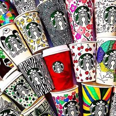 My Starbucks doodle art IN CUPS AWESOME