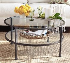 coffee table for smaller seating area in living room Tanner Round Coffee Table | Pottery Barn