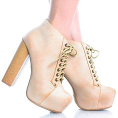 Beige Faux Leather Lace Up Women Chunky Heel Platform Ankle Booties