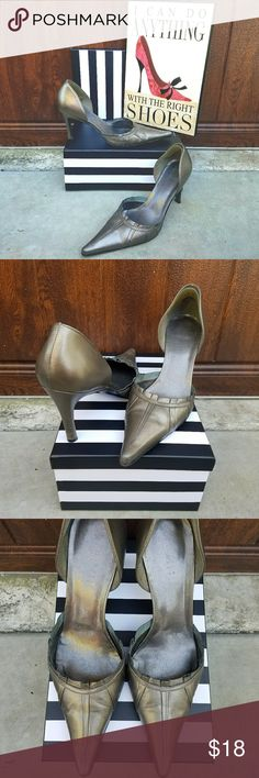 """Silver Carole Little D'orsay Pumps These silver d'orsay pumps by Carole Little feature a leather upper & pointed toe. They have light scuffing here & there but were only worn a few times. The heel measures approximately 3.5"""". Perfect for work. Carole Little Shoes Heels"""
