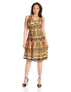 Gabby Skye Women's Plus-Size Tribal Printed Halter Dress, Rust Multi, 14W
