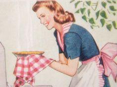 Vintage pie baking illustration