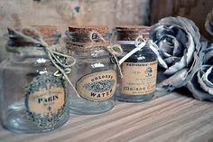 MadeByDara / Vintage shabby fľaštičky sada 3
