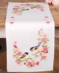 Chic Clothes Cherry blossom and birds cross stitch embrodery table cloth Butterfly Cross Stitch, Cross Stitch Bird, Cross Stitch Flowers, Cross Stitch Designs, Cross Stitching, Cross Stitch Patterns, Hand Embroidery Videos, Hand Work Embroidery, Hand Embroidery Designs