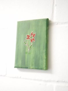 Stitched Art Painting. Small Green and Red Flower by KezylouToo