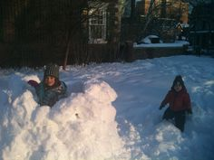 making snow forts.