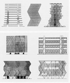 """Louis I. Kahn and Anne Tyng. Hypothesis of vertical growth of the geometric system used for the Yale Art Gallery, now applied to the City Tower project. The drawings show the three stages of the design process of the tower (1952-57) (via TOWARD A CRITIQUE OF """"THE ORGANIC"""" IN ARCHITECTURAL THINKING 