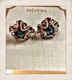 Vintage Art Deco McClelland Barclay Aqua Blue Gold Filled Earrings on Etsy, $19.95