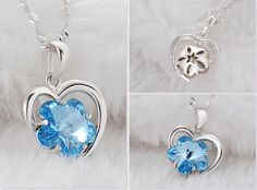 Best Fashion Item 925 Sterling Silver Necklace, Heart Pendant with Sky Blue AAA Zircon Flower, Silver