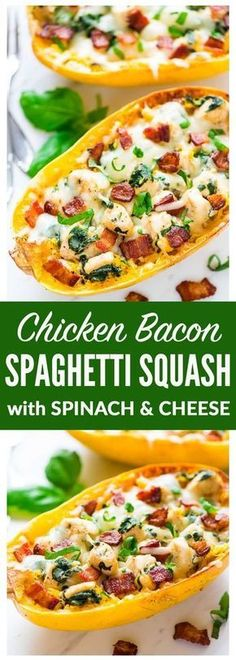 Spaghetti Squash Boats with Chicken Bacon Spinach and Cheese A healthy low carb meal that tastes like chicken alfredo Easy gluten free and absolutely delicious Recipe at. Huhn Spaghetti, Spaghetti Squash Boat, Spaghetti Squash Recipes, Pasta Recipes, Chicken Recipes, Cooking Recipes, Diet Recipes, Chicken Spaghetti, Spaghetti Spinach