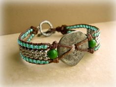 Hemp Loom Beaded Bracelet with Metal Charm  The by SoVerySilly