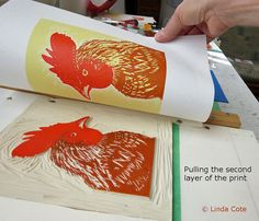 Russell 4 Color Linocut Relief Print Rooster by LindaCoteStudio