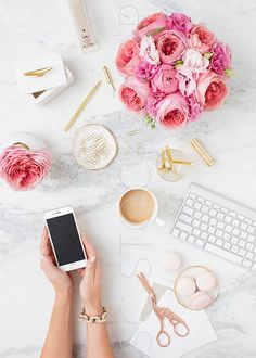 Pink Peonies and Marble. Styled Stock Photography. Styled desktop with phone screen by SCstockshop
