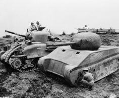 American M4A1 Tank Sherman and the British inflatable dummy tank in Anzio