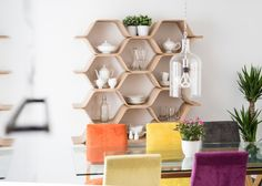 Chris has used the Polygon Shelving Unit in Ash as storage for his kitchenwares. MADE.COM/unboxed