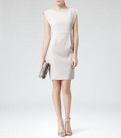 Womens Neutral Shoulder Detail Dress - Reiss Aragon