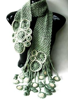 Crochet Scarf Design via PamT's pinboard; jointly made by myself and Jonelle Raffino, from the book 'Freeform Style': Verzauberung - enchantment by Prudence Mapstone - freeform - Shawl Crochet, Freeform Crochet, Crochet Scarves, Irish Crochet, Crochet Clothes, Free Crochet, Crochet Geek, Knit Crochet, Crochet Potholders