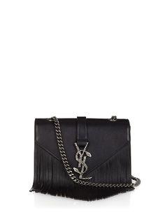 Saint Laurent Monogram small fringed leather cross-body bag
