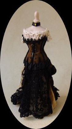 """""""Old Bailey"""" miniature dollhouse steampunk gown from Miss Amelia's Miniatures - sold but oh I hope Janine Crocker makes another!"""