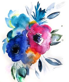 Paper Prints: - Fine art print of the original watercolor painting by Christine Lindstrom - Printed with archival inks on Canon Pro Luster Paper - 255 gsm - There is a white border around the edges of