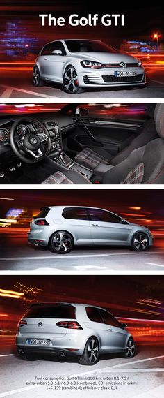 The Golf GTI is a legend thanks to its high performance power and self-assured appearance. The honeycomb radiator grille and the red stripe are characteristic of the Volkswagen Golf GTI. This look is also reflected in the cockpit, with its brushed stainless steel pedal covers, its golf-ball-like gearshift knob and special sports seats. Under the hood, the 162 kW 2-liter turbo engine boosts the GTI to a high speed of up to 246 km/h and accelerates it from 0 to 100 km/h in 6.5 seconds.