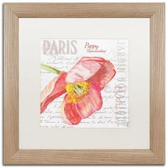 Trademark Fine Art Paris Botanique Red Poppy Birch Finish Framed Wall... ($85) ❤ liked on Polyvore featuring home, home decor, wall art, pink, flower wall art, pink flower wall art, framed flower wall art, red home decor and paris wall art