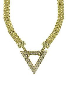 Lord & Taylor Cubic Zirconia and Goldtone Sterling Silver Triangle Nec