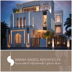 500 m private villa kuwait Sarah sadeq architects Modern Architecture House, Islamic Architecture, Classical Architecture, Facade Architecture, House Front Design, Modern House Design, Interior Exterior, Exterior Design, Modern Mansion