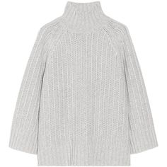 Michael Kors Chunky-knit cashmere and wool-blend sweater (8.250 ARS) ❤ liked on Polyvore featuring tops, sweaters, jumpers, outerwear, light gray, boxy top, loose fitting tops, michael kors sweaters, loose tops y michael kors