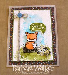 The Buzz: Ink smooshing smile card featuring Into the Woods stamp set from #lawnfawn Details on my blog. Click the pic!