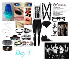 """Meeting The Boys: Day 1 (BVB 10 Day Challenge Remake)"" by andy-244biersack ❤ liked on Polyvore featuring ZeroUV, Converse, beautiful, batman, emo and BLACKVEILBRIDES"