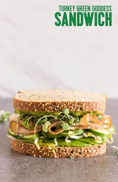 Turkey Green Goddess Sandwich: Get a little protein with your Green Goddess sandwich. Our version pairs turkey, cucumbers, sprouts, avocado, microgreens and plenty of Green Goddess sauce between hearty slices of Arnold Whole Grains Healthy Multi-Grain Bre