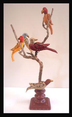 Bird Tree, Folk Art, Artisan, Carving, Birds, Traditional, Antiques, Colonial, September