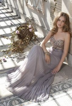 Homecoming Dresses - Metallic Chiffon Strapless Dress from Camille La Vie and Group USA