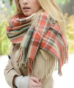 Cream & Red Plaid Fringe Scarf #zulily #zulilyfinds