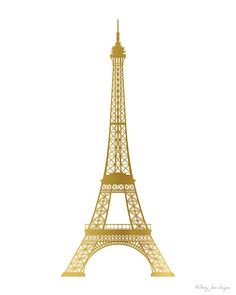 Eiffel Tower Print, Gold Paris Home Decor Wall Art in Digital Printable Instant…