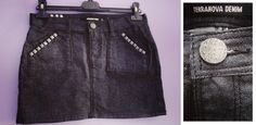 MINI GONNA fascia nera jeans cotone borchie TERRANOVA DENIM S 42 skirt jupe rock
